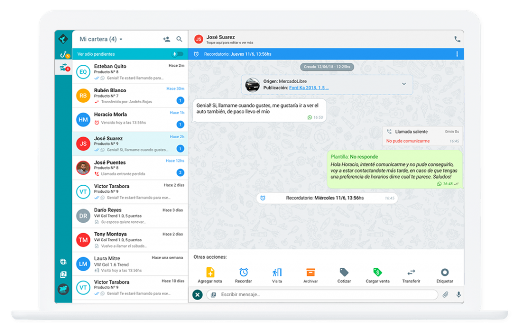 startup Sirena CRM whatsapp