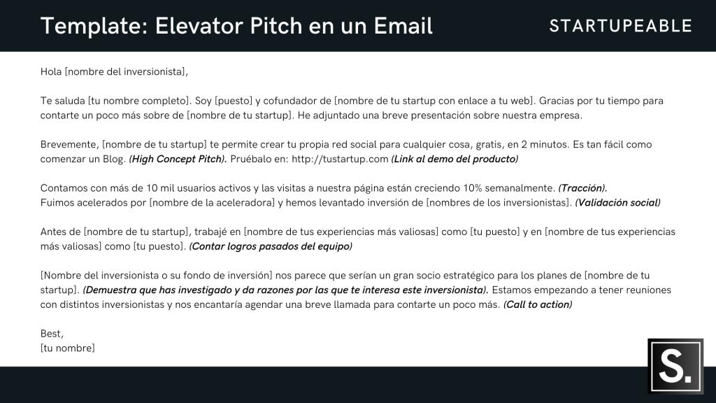 elevator pitch ejemplo